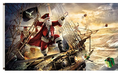 (Flylife Large Flag Merry Christmas banner 3'x5' outdoor Flag--santa claus pirate ship gifts sea storm)