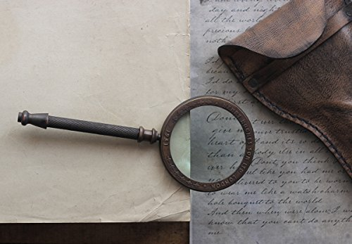 Vintage Handheld Magnifying Glass Magnifier with Brass Handle and leather pouch Steampunk Home Office Desk Accessories Decorative Children Hobby Tool (Steam Sale Halloween)