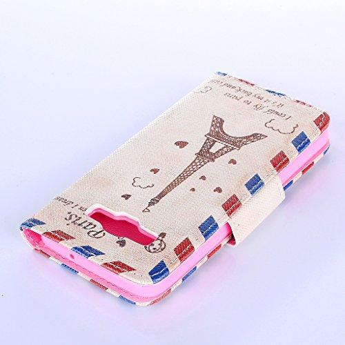 Qimmortal - Funda tipo cartera para Samsung Galaxy S7, piel sintética, diseño colorido, función atril plegable magnética, con tarjetero, incluye protector de pantalla de cristal templado, piel sintéti Envelopes tower