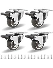 Meubelwielen, set van 4 zwenkwielen met rem, transportwielen, zware wielen, strandkorfwielen, wielen, wielen, 360 graden draaibaar, draagvermogen 50 kg te gebruiken als wielen voor meubels en bescherm de vloer