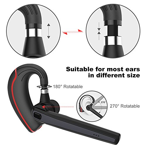 Large Product Image of Bluetooth Headset, Wireless Earpiece for Cell Phones, In-Ear Piece Hands Free Earphones Headphone Car Speakerphones Kits w/ Mic, Noise Cancelling for Driving, Compatible w/ iPhone Samsung Cellphone