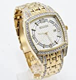 Elgin FG7097 Men's Square Analog Date Oversized White Stone Bracelet Style Watch