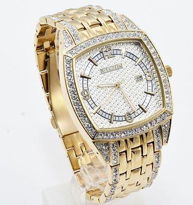 Elgin Gold Watch - Elgin FG7097 Men's Square Analog Date Oversized White Stone Bracelet Style Watch