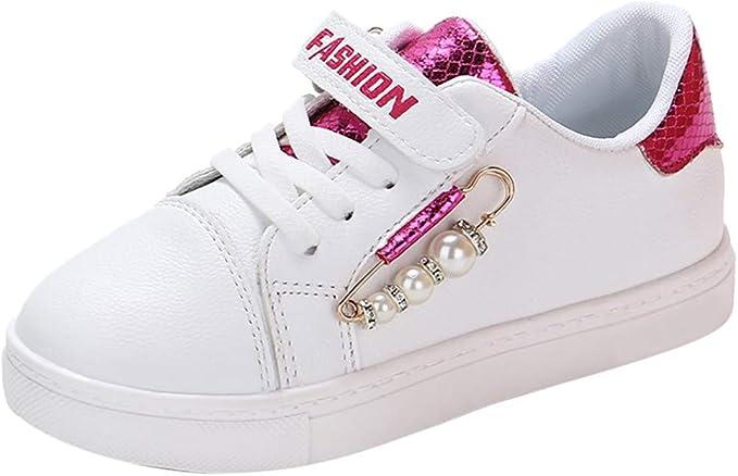 BANAA Fashion - Zapatillas Deportivas Blancas para niñas, Estudiantes, Zapatos sin tacón para niños, Zapatillas de Gimnasia, Zapatos de Running, niña, Perla, Letra Rojo 32: Amazon.es: Ropa y accesorios