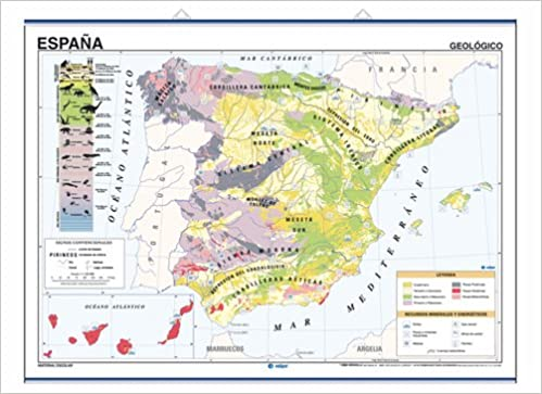 Mapa mural España impreso a doble cara Geológico / Climático envarillado, con colgadores y tubo 140 x 100 cm: Amazon.es: Edigol Ediciones: Libros