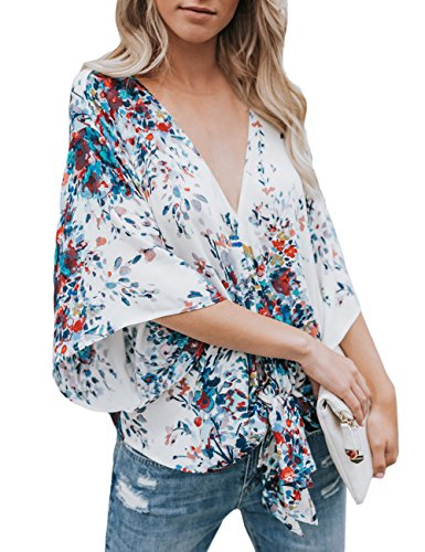- CICIDES Women Summer Sexy V Neck Casual Floral Printed Short Sleeve Tie Front Flare Loose Tops Chiffon Blouses White US8-10 Medium