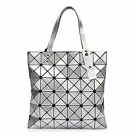 d49051fe53ef Amazon.com   Bag Female Folded Geometric Plaid Bag Fashion Casual Tote  Women Handbag Shoulder Bag Style Japan (Silver Color)   Everything Else