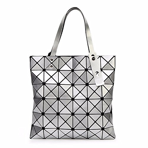 Prada Duffel (Bag Female Folded Geometric Plaid Bag Fashion Casual Tote Women Handbag Shoulder Bag Style Japan (Silver Color))