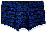 Emporio Armani Men's Stretch Cotton All Over Logo Trunk, Printed Dark Blue, M