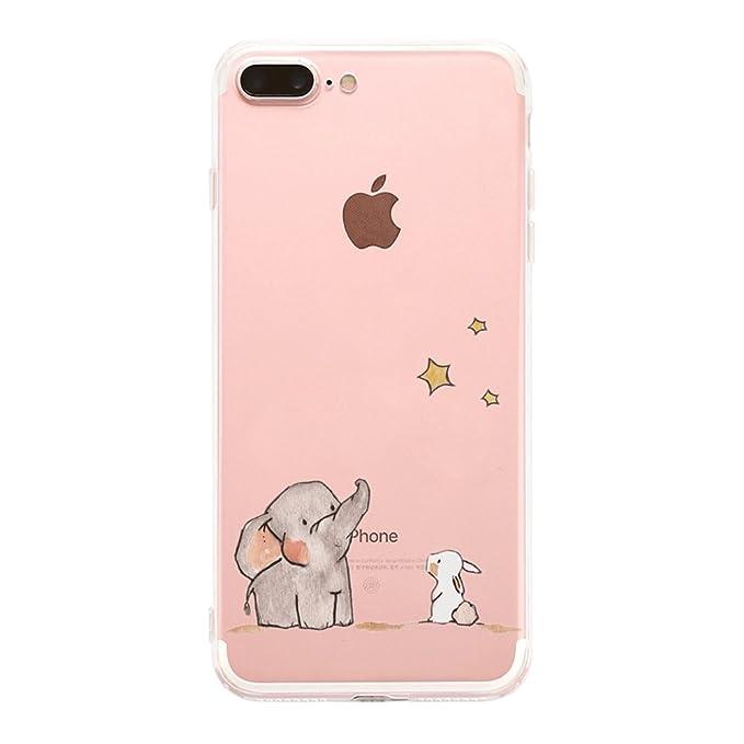 JEPER Funda iPhone 7 Plus Carcasa Silicona Transparente Protector TPU Ultra-Delgado Anti-Arañazos Elefante Case para Teléfono Apple iPhone 7 Plus Caso ...
