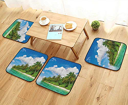 (Printsonne Elastic Cushions Chairs Tropical Island Palm Trees Ocean and Bright Sky Exotic Lands for Living Rooms W29.5 x L29.5/4PCS Set)