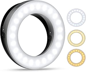 (2020 New Version) Selfie Ring Light, 3 Lighting Modes Rechargeable Clip on Fill Light, Adjustable Brightness Phone Camera Circle Light for iPhone X Xr XsMax 11 Pro Android iPad(Black)