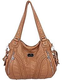 39a9fc8794 Angelkiss Women Top Handle Satchel Handbags Shoulder Bag Messenger Tote  Washed Leather Purses Bag …