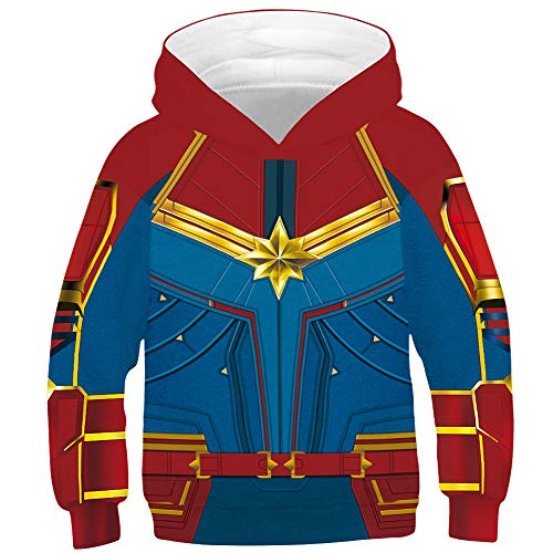 TAKUSHI HF Teen Boys Girls Fashion 3D Printed Galaxy Long Sleeve Pullover Hoodies Hooded Sweatshirts with Pocket 6-13Y (Captain Marvel Red, L(12-13 Years))