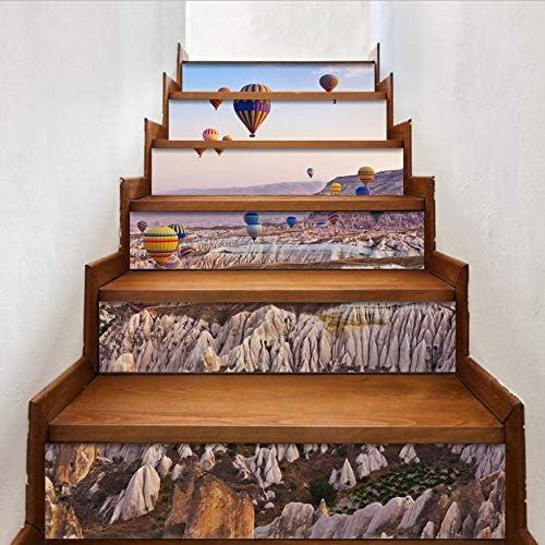 Pegatinas Para Escaleras Globo De Aire Caliente 6 Unids/Set 18 Cm X 100 Cm Escaleras Decoración Pvc 3D Sticker Art Wall Mural Decal Decoración Diy Pegatinas Escalera: Amazon.es: Bricolaje y herramientas