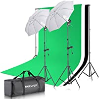 Neewer 2M x 2M/6.56ft x 6.56ft Background Support System and 400W 5500K Continuous Lighting Umbrellas Kit for Product,Portrait and Video Shoot Photography