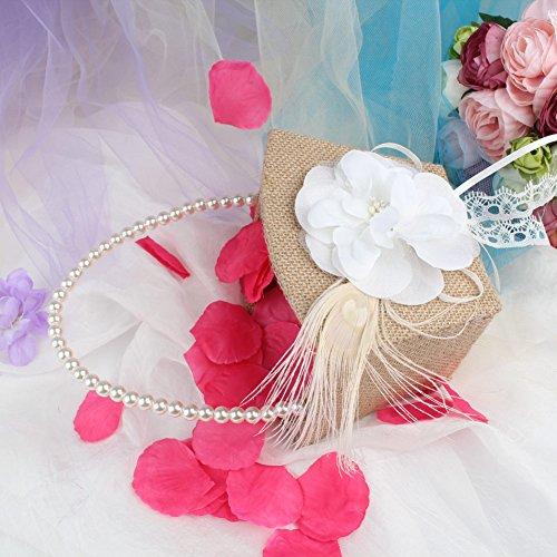 Flower Girl Basket Kit : Ourwarm burlap flower girl basket pearl handle vintage