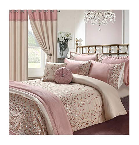 voice 7 Soft Elegant Design Sequin Embroidery Bedding Bedroom Collections UK Sizes (Marie Pink, Double Duvet Cover + 2 Pillow Cases)
