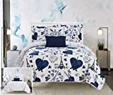 Chic Home Grand Palais 5 Piece Reversible Quilt Set Paris is Love Inspired Printed Design Coverlet Bedding-Decorative Pillows Sham Included/XL Size, Twin, Navy