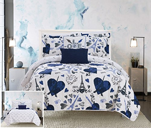 Chic Home Grand Palais 5 Piece Reversible Quilt Set Paris is Love Inspired Printed Design Coverlet Bedding - Decorative Pillows Sham Included/XL Size, Twin, Navy