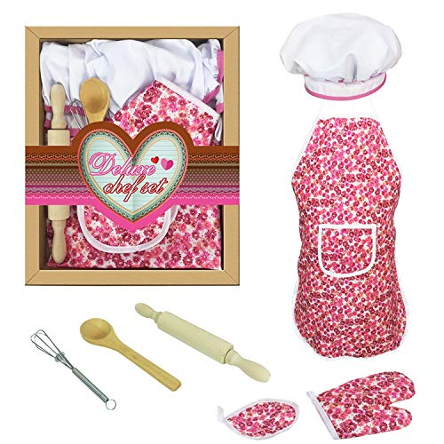 TripleLife Kids Chef Set Children Cooking Play Kids Cook Costume with Utensils for Girls Role-Play Chef Set for Kids Dress up, Great-Gift -