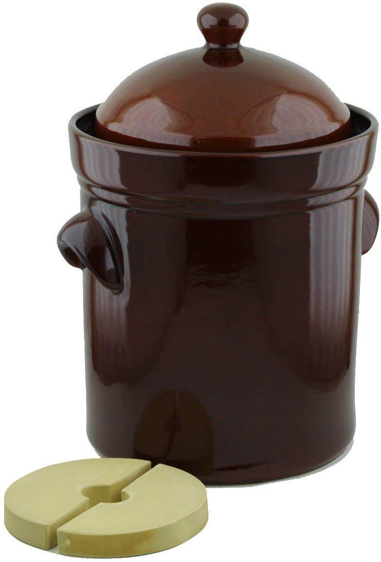 Fermentation Harvest Pot with Stone Weight, 15L (4 gal), Original Bunzlau made in Boleslawiec, Poland. Durable quality product.
