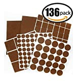 TopYart Felt Pads Heavy Duty Adhesive Furniture Pads for Tiled, Laminate, Wood Flooring - 136 Pieces Floor Protectors, Felt Chair Pads, Hardwood Floor Protector of Various Sizes Included