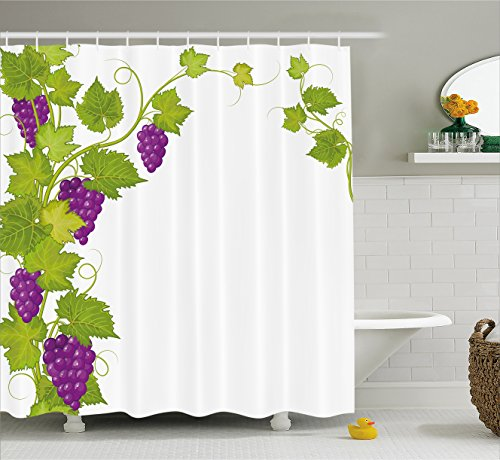 Ambesonne Grapes Home Decor Shower Curtain, Latin Brochure Label Italian Town Province Vintage Menu Sign Artwork, Fabric Bathroom Decor Set with Hooks, 70 Inches, Violet Green