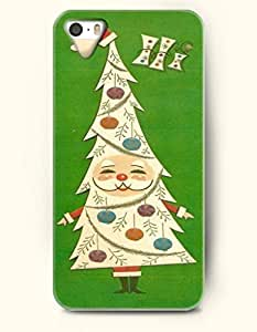 Merry Christmas White Xmas Santa Claus Tree In Green Background - OOFIT iPhone 4 4s Case by runtopwell