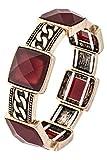 Trendy Fashion Jewelry ANTIQUE DETAILED SQUARE FACETED GEM LINK STRETCH BRACELET By Fashion Destination