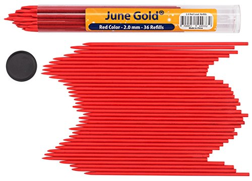June Gold 36 Red Colored Lead Refills, 2.0 mm, Extra Bold Thickness for Heavy Use, Break Resistant with a Convenient Dispenser