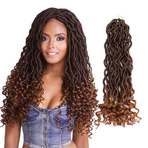 Eerya Goddess Faux Locs Crochet Hair Braids Wavy with Curly Ends Synthetic Hair Extensions Fauxlocs Fiber Braiding Hair Afro Kinky Soft Dread Dreadlocks (3Packs/Lot, 1B/27#)