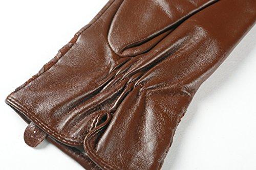 Ambesiレディースフリース裏地ナッパ革冬暖かい手袋
