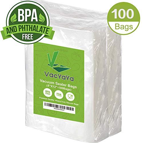 (Premium!100 Quart 8 x 12 Inch Vacuum Sealer Storage Bags Size for Food Saver,Vac Seal a Meal Bags BPA Free, Heavy Duty Commercial Grade Freezer & Sous Vide Vaccume Safe PreCut Bag)