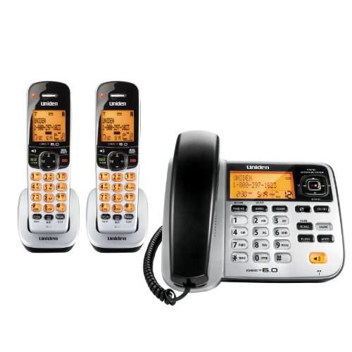 Uniden DECT 6.0 Expandable Corded/Cordless Phone with Answering System - Silver, 2 Handsets and 1 Base (D1788-2)
