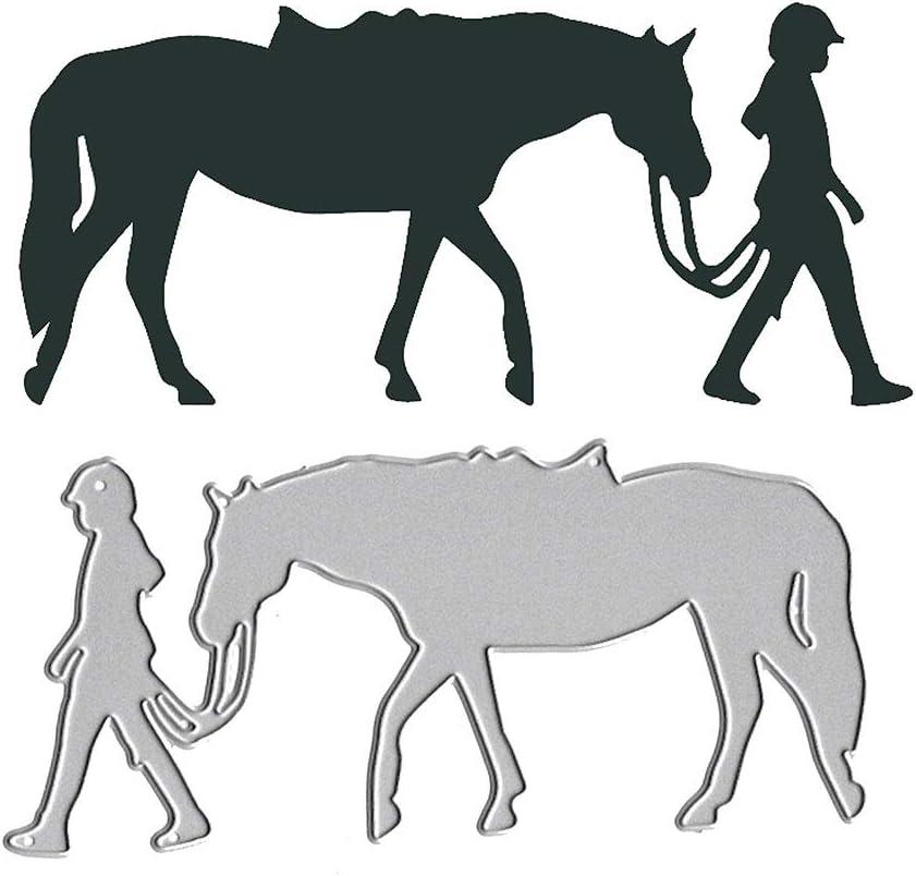 Pferd f/ür Scrapbooking Basteln silberfarben aus Metall Risxffp Modische Stanzschablonen f/ür M/ädchen