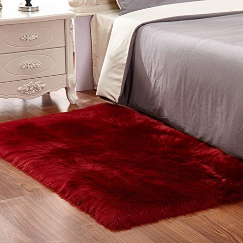 (Faux Fur Sheepskin Area Rug,Solid Shaggy Area Rugs for Living Bedroom Floor - Burgundy 2ftx3ft)