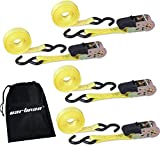 Tools & Hardware : Cartman Ratchet Tie Down, 4Pk 15Ft, 500Lbs Load Cap/ 1500Lbs Break Strength, Cargo Straps for Moving Appliances, Lawn Equipment, Motorcycle in a Truck, With Carry Bag