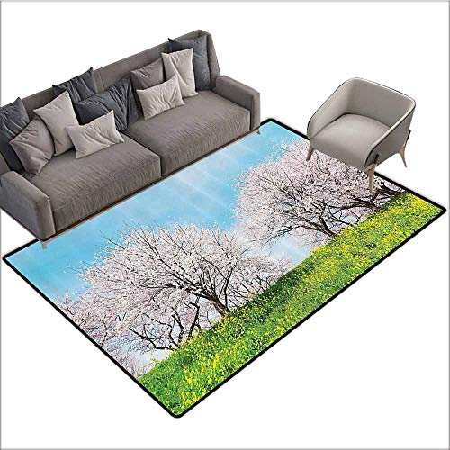 Home Bedroom Floor Mats House Decor,Japanese Spring Scenery with Grass Wildflowers Cherry Trees Pink Blossoms Panorama,Aqua Pink Green 64