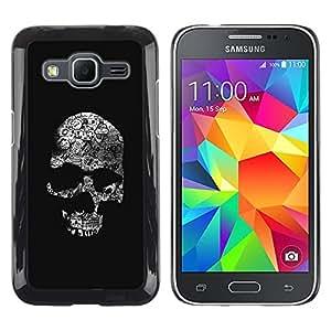 Paccase / SLIM PC / Aliminium Casa Carcasa Funda Case Cover - Skull Black Bones White Death Metal - Samsung Galaxy Core Prime SM-G360
