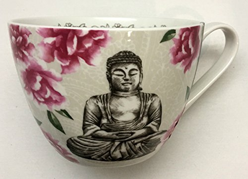 Portobello by Inspire Floral Buddha Peace Mug | Bone China | Designed in England | Coffee, Tea