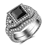 Caperci 2.0ct Princess-Cut Black CZ Diamond Engagement Ring Bridal Set 14k White Gold Plated Sterling Silver Size 5