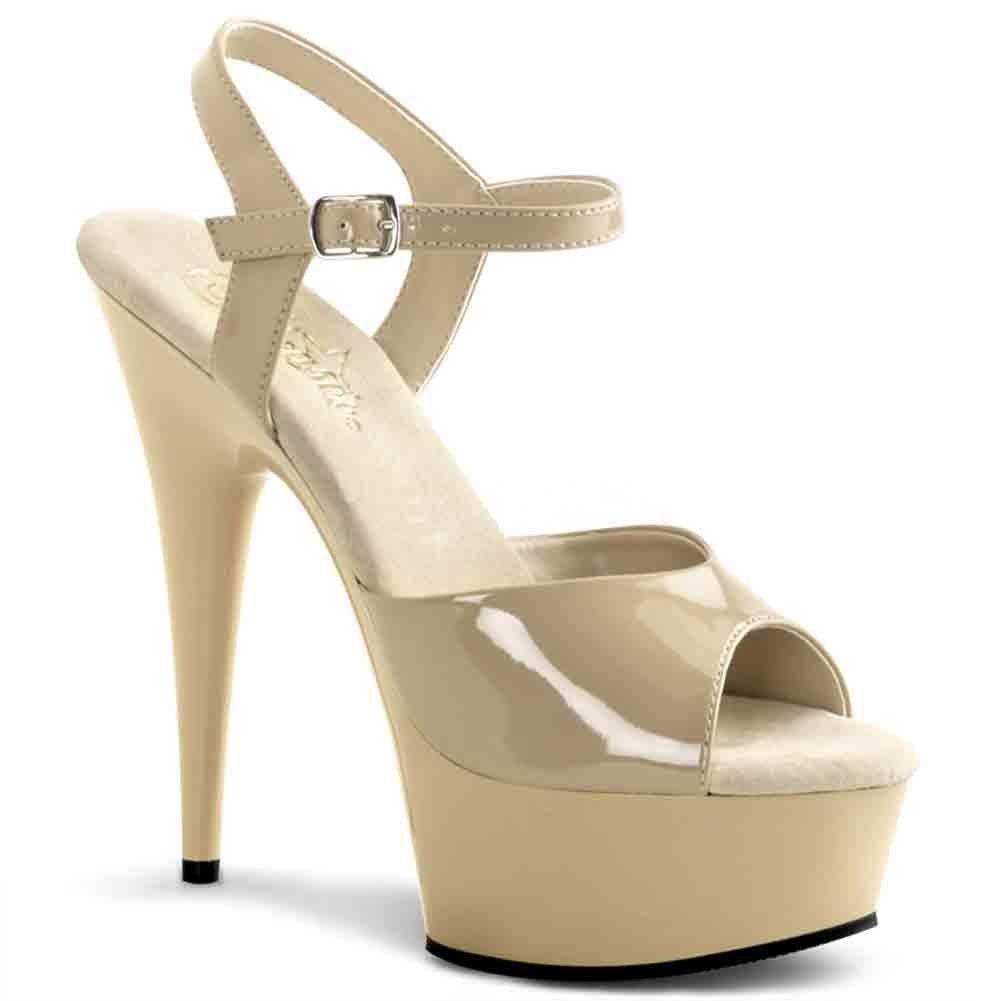 Pleaser Women's Delight-609/B/M Ankle-Strap Sandal B00IA5YD46 14 B(M) US|Cream/Cream