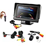 REARMASTER Easy Installation 12V Car Backup Camera and Monitor Kit with RCA connection,Power On/Off Button Integrated in Cigarette Lighter,Two Installations Camera + 4.3 inch Desktop Monitor