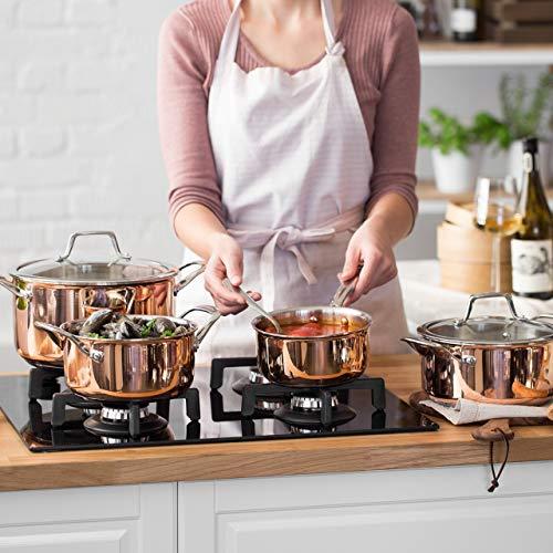 Kupferbeschichtetes Kochtopf-Set mit Glasdeckeln