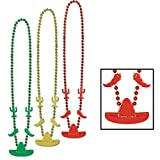 Club Pack of 36 Green, Yellow and Red Beaded Mexican Fiesta Party Necklaces 33''