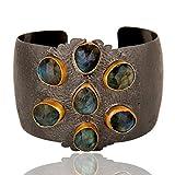 Rhodium Plated Labradorite Gemstone Anniversary Gift Women Cuff Bracelets