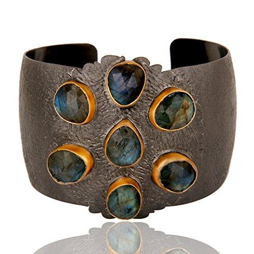 Rhodium Plated Labradorite Gemstone Anniversary Gift Women Cuff Bracelets by Dhruvansh Creations