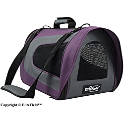 """EliteField Deluxe Soft Pet Carrier (3 Year Warranty, Airline Approved), Multiple Sizes and Colors Available (20"""" L x 11"""" W x 11"""" H, Purple+Gray)"""