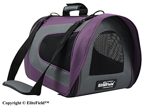 EliteField Deluxe Soft Pet Carrier (3 Year Warranty, Airline Approved), Multiple Sizes and Colors Available (18″ L x 10″ W x 11″ H, Purple+Gray) For Sale